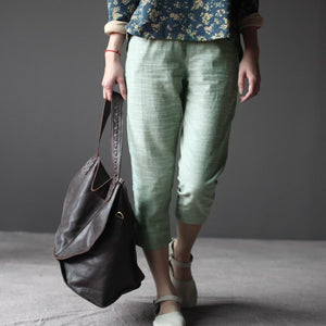 Nude linen Cropped Trousers Crop Pants