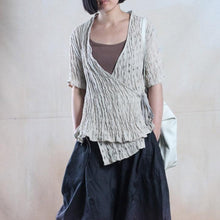 Load image into Gallery viewer, Nude linen cardigan top summer linen shirt tunic symmertric top blouse