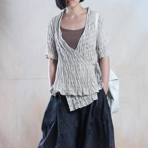 Nude linen cardigan top summer linen shirt tunic symmertric top blouse
