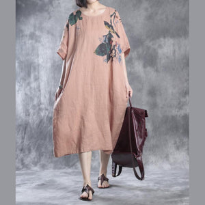 Nude linen dresses floral print  fall