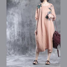 Laden Sie das Bild in den Galerie-Viewer, Nude linen dresses floral print 2016 fall
