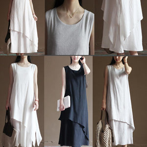 White linen dress summer maxi dresses holiday sundresses top quality linen clothing