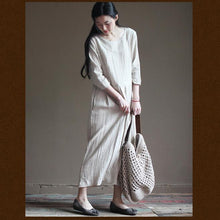 Load image into Gallery viewer, Nude linen maxi dresses half sleeve linen summer maternity dress sundresses