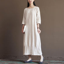 Laden Sie das Bild in den Galerie-Viewer, Nude linen spring dress 2016 new linen maxi dresses plus size linen clothing