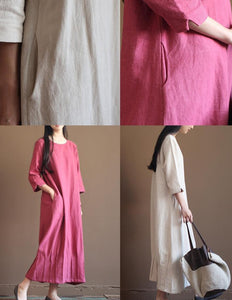 Nude linen spring dress 2016 new linen maxi dresses plus size linen clothing