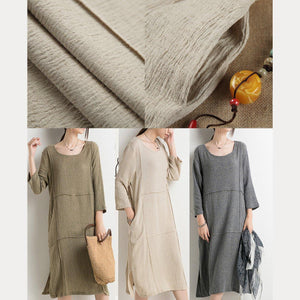 Nude linen dress summer dress oversize casual linen sundresses