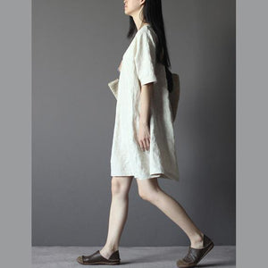 Nude linen summer dresses elegant linen sundress casual line clothing