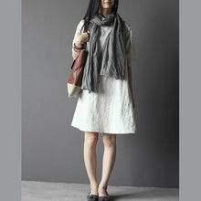 Load image into Gallery viewer, Nude linen summer dresses elegant linen sundress casual line clothing