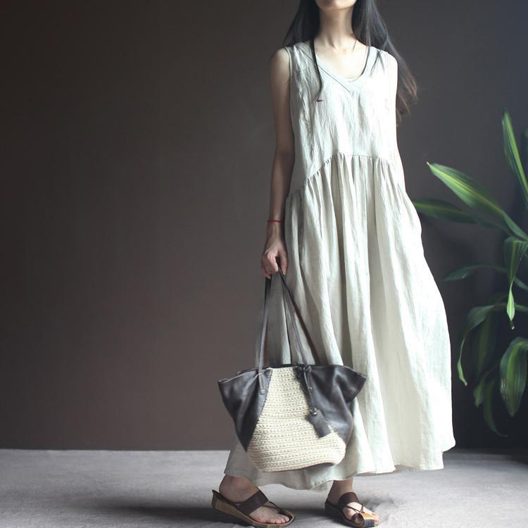 Nude linen sundress sleeveless summer maxi dresses vestido hoiday beach dress