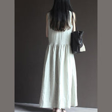 Load image into Gallery viewer, Nude linen sundress sleeveless summer maxi dresses vestido hoiday beach dress