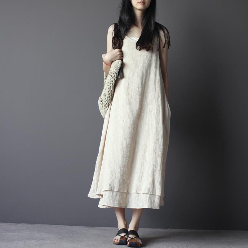 Nude long linen summer dress linen maxi sundress sleeveless