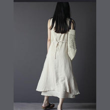 Laden Sie das Bild in den Galerie-Viewer, Nude long linen summer dress linen maxi sundress sleeveless