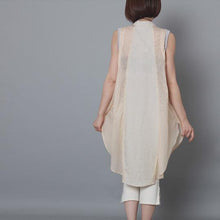 Laden Sie das Bild in den Galerie-Viewer, Nude patchwork linen sundress sleevelss cotton holiday summer dress oversize