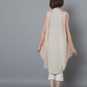 Nude patchwork linen sundress sleevelss cotton holiday summer dress oversize