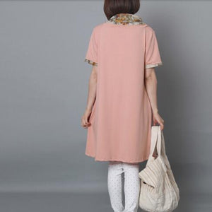 Nude pink cotton sundress oversize summer shift dress