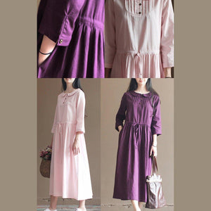 Nude pink drawstring waist pleated linen dress plus size cotton dresses