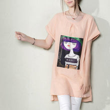 Load image into Gallery viewer, Nude pink new linen women summer blouse long shirt top