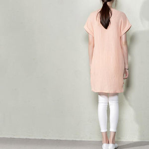 Nude pink new linen women summer blouse long shirt top