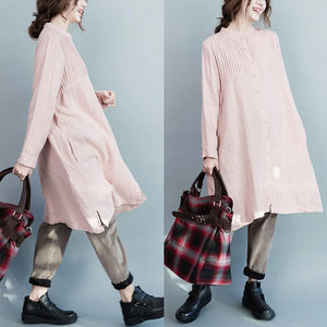 Nude pink pleated oversize cotton dresses long sleeve maternity dress womens shirts