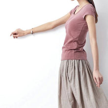 Load image into Gallery viewer, Nude pink summer casual cotton T shirt plus size blouse top quality