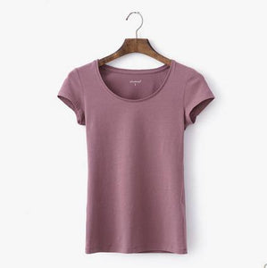 Nude pink summer casual cotton T shirt plus size blouse top quality