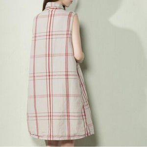 Nude plaid linen tank sundress sleeveless summer shift dresses plus size-will be available soon