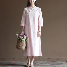 Load image into Gallery viewer, Nude spring dresses vintage cotton maxi dress oversize linen caftans