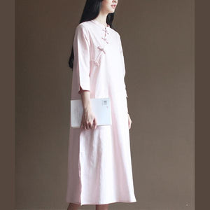 Nude spring dresses vintage cotton maxi dress oversize linen caftans