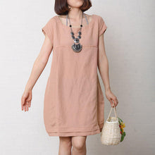 Load image into Gallery viewer, Nude summer linen maternity dress oversize cotton shift sundress pink