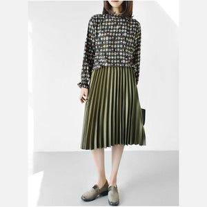 Olive Satin pleated skirt new 2017 knee length