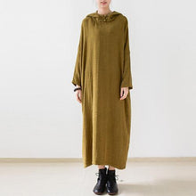 Load image into Gallery viewer, Olive double layered long sleeve linen dresses hooded long cotton maxi dresses