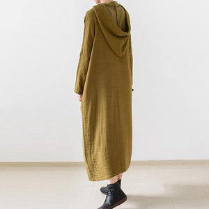 Olive double layered long sleeve linen dresses hooded long cotton maxi dresses