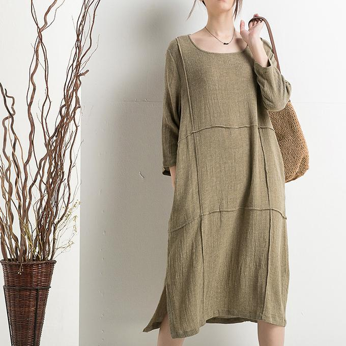 Olive linen sundress plus size cotton summer dress maternity clothing