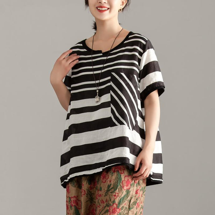 Omychic linen tops casual Black Stripe Short Sleeve Summer Casual Tops