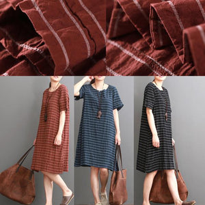 Orange cotton dresses causal striped shift dress sundress