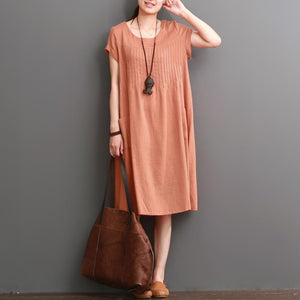 Orange cotton dresses summer short sleeve maxi dress