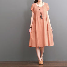 Load image into Gallery viewer, Orange cotton dresses summer short sleeve maxi dress
