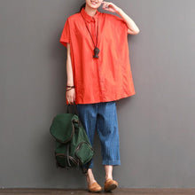 Load image into Gallery viewer, Orange cotton shirt for summer women blouse short top