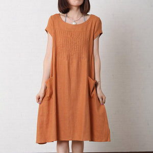 Orange linen dress plus size summer maxi dress cotton sundress