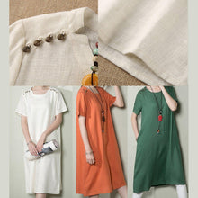 Load image into Gallery viewer, Orange natural linen sundress plus size shift dress summer maternity casual dress