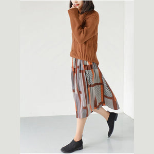 Orange pleated skirts spring chiffon skirt long casual skirts