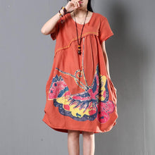 Load image into Gallery viewer, Orange plus size linen summer dress oversize sundress maternity dresses flying butterfly