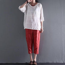 Load image into Gallery viewer, Orange pockets linen summer crop pants plus size