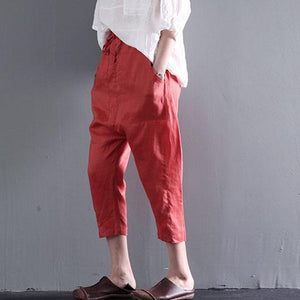 Orange pockets linen summer crop pants plus size
