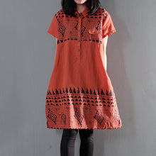 Load image into Gallery viewer, Orange print floral linen shift dress summer shirt dresses plus size