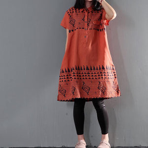 Orange print floral linen shift dress summer shirt dresses plus size