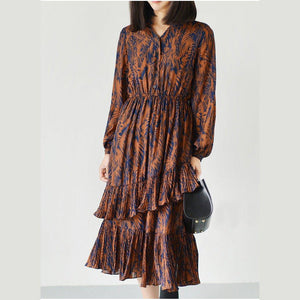 Orange spring chiffon dresses casual long sleeve sundress 2017 layered design