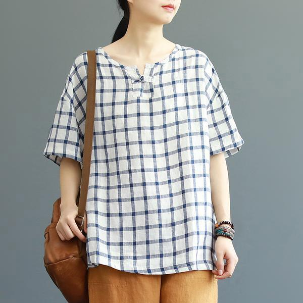 Organic Blouse Boho Vintage Plaid Cotton Summer Frog Buttons Half Sleeve T-shirt