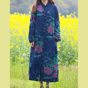 Organic Chinese Button Fashion casual coats women blue prints stand collar Midi women coats fall