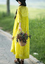 Load image into Gallery viewer, Organic O Neck Cinched Long Shirts Lnspiration Yellow Print Kaftan Dresses